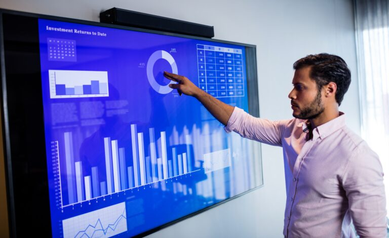 Government worker looking at data center analytics