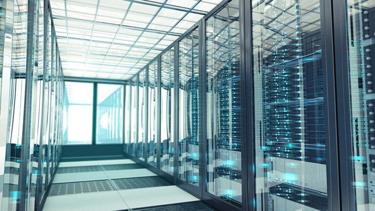 Colocation Data Center Server Room Bluelight